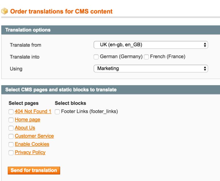 CMS content translation