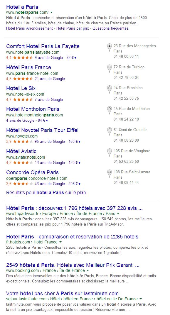 hôtel à Paris Recherche Google