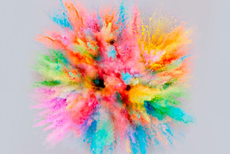 colorful dust explosion