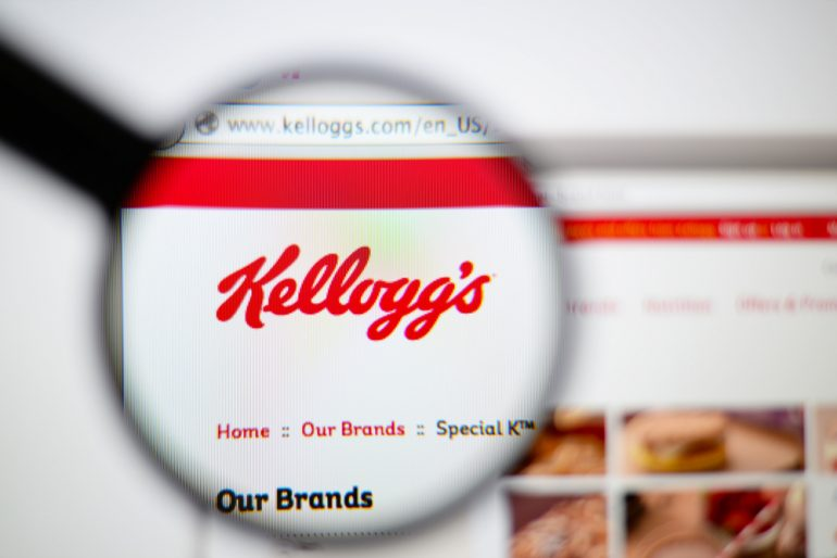 zoomed-in view of the kellogg's website homepage