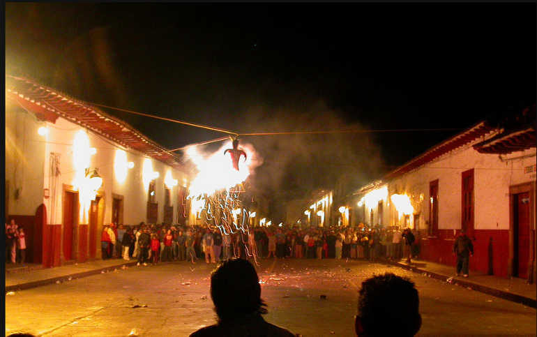 The burning of a cardboard figure during the Sabado de Gloria in Mexico.