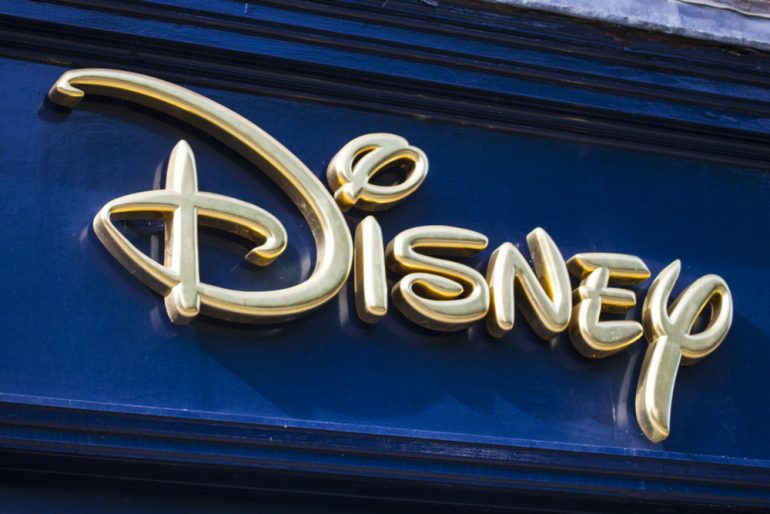 Disney's logo on a blue board