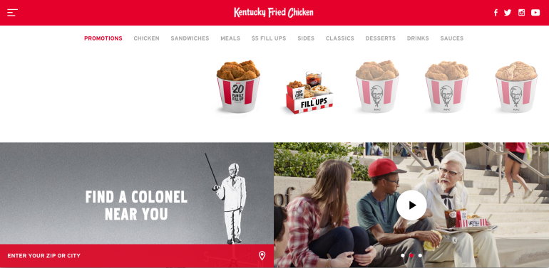 KFC US website