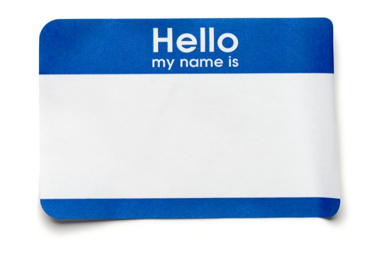 blank blue name tag