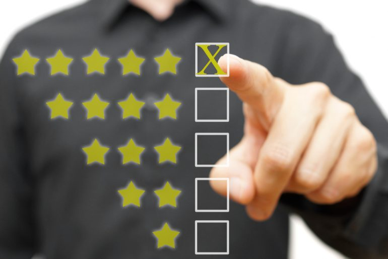 man choosing a five-star rating