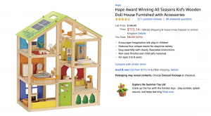 Kid's doll house featured on Amazon