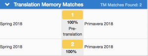 Translation Memory Matches