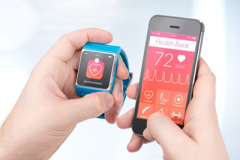 Smartwatch and mobile device syncing health app data