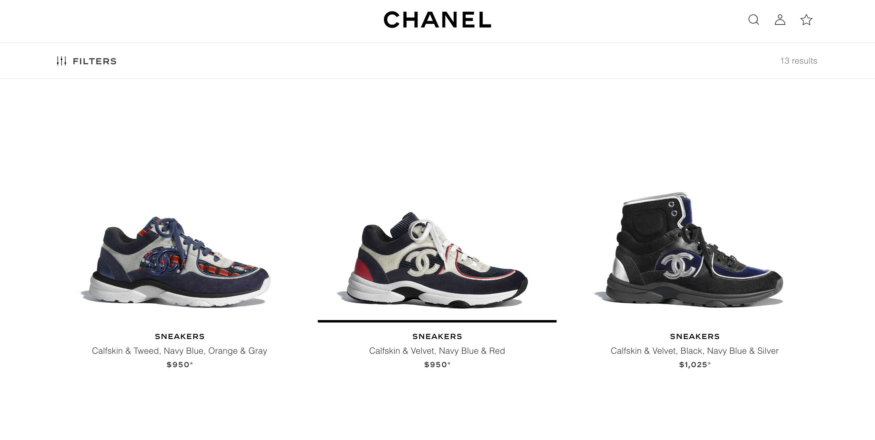 Chanel website featuring luxury sports shoes