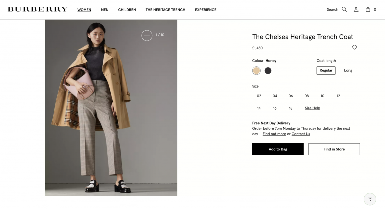 A Burberry trench coat product page
