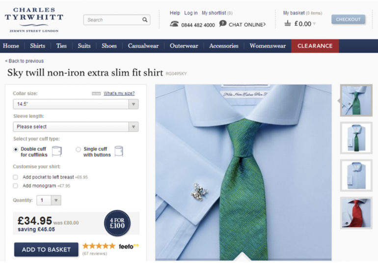 Charles Tyrwhitt shirt product page online