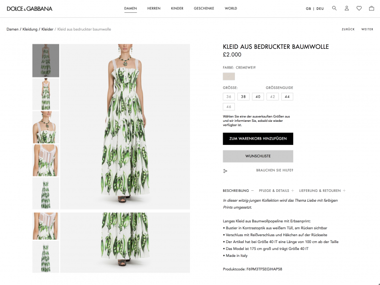 Dolce & Gabana German product page