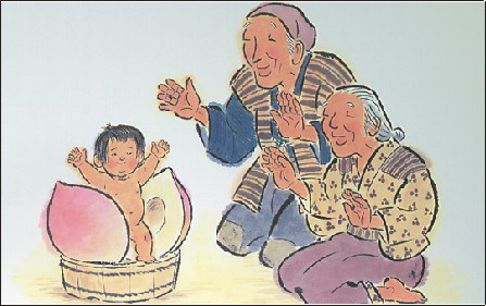 A depiction of Momotarō, a popular hero of Japanese folklore in which came to Earth inside a giant peach.