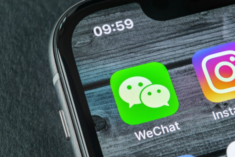 WeChat app icon on an iPhone 10