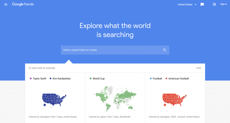 Google Trends homepage