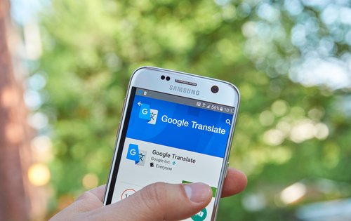 Smartphone with Google Translate app open on it