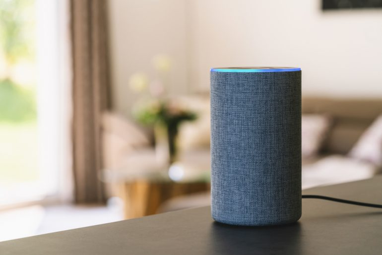Amazon Echo device in a living room setting