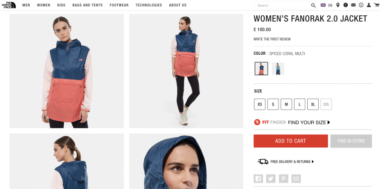 North Face eCommerce product page