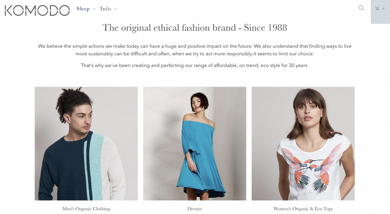 Home page of ethical clothing brand Komodo