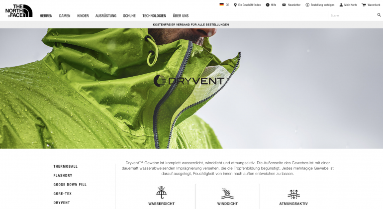 The North Face technology page for DryVent features.