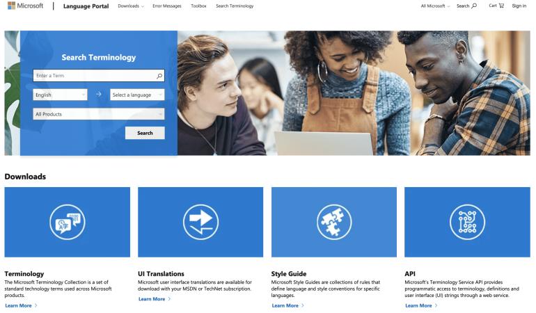 Microsoft's language portal