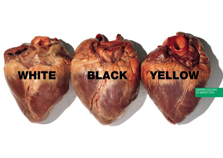 United Colours of Benetton advert in 1996 with three 'human' hearts