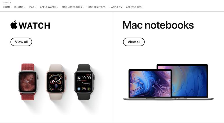 Apple products on Amazon's website