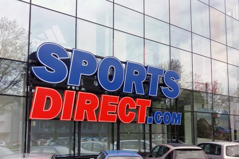 Sports Direct logo outside a store in London