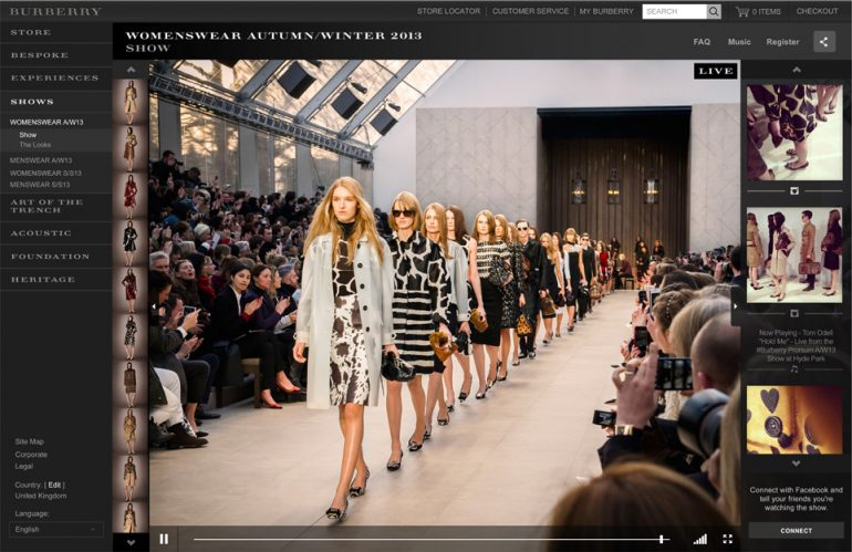 A Burberry runway show streaming live on its website
