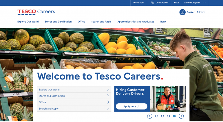 Tesco careers website