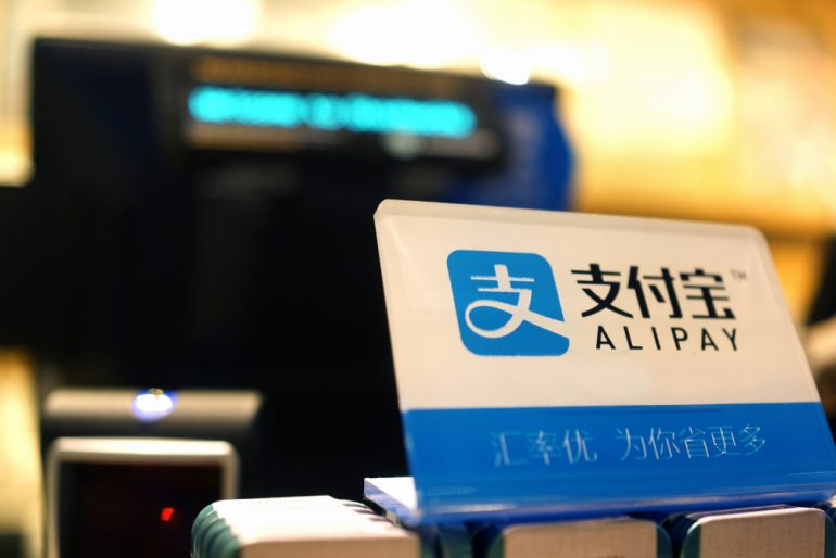 Alipay on a POS desk in a retail store