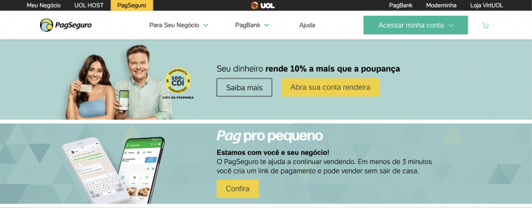PagSeguro homepage