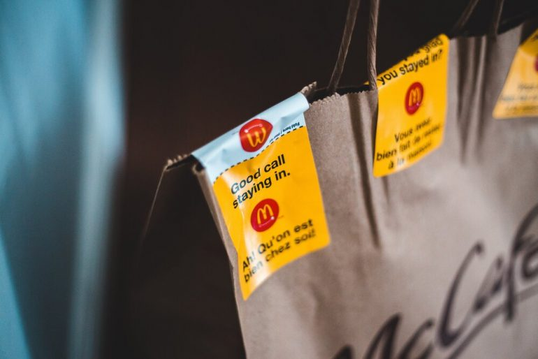 McDonalds delivery bag, close up of delivery stickers