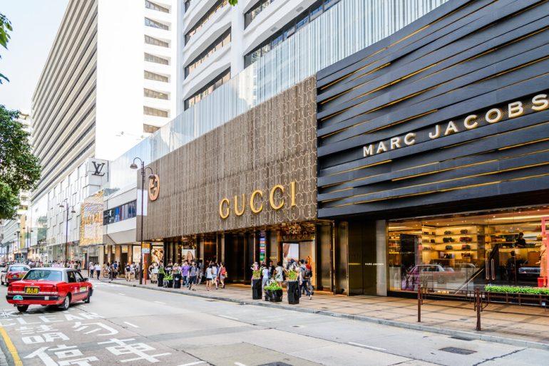 High street of luxury fashion retailers in Hong Kong, China