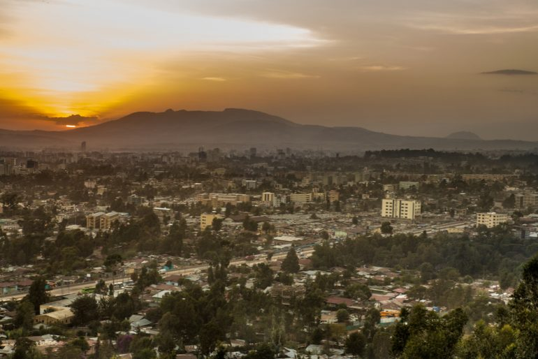 Aerial view of the city of Addis Ababa, Ethiopia during sunset